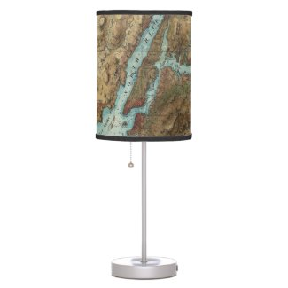 Vintage Map of New York City Harbor (1864) Desk Lamp
