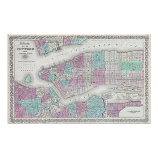 Vintage Map of NYC and Brooklyn (1861) Poster