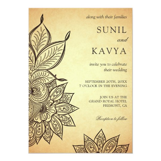 Vintage Mehendi Henna Indian Wedding Invitation