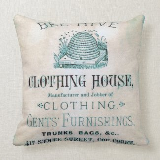 Vintage Mens Clothing Advertisement Pillow