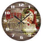 Vintage Merry Christmas & Santa on Rustic old Wood Large Clock