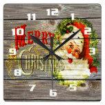 Vintage Merry Christmas & Santa on Rustic old Wood Square Wall Clocks