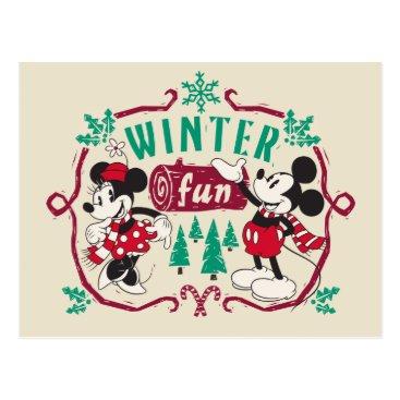 Vintage Mickey & Minnie | Winter Fun Postcard