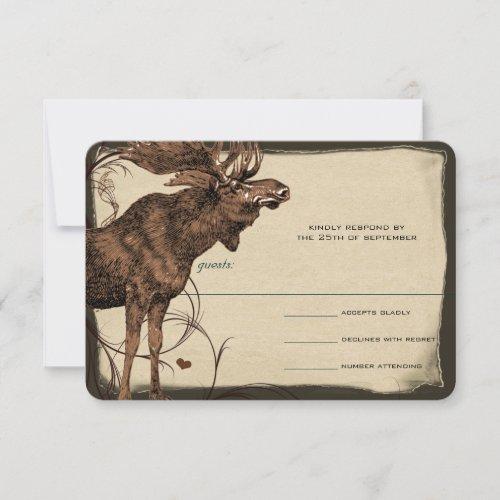 Vintage Moose Forest Lodge Ranch Wedding RSVP