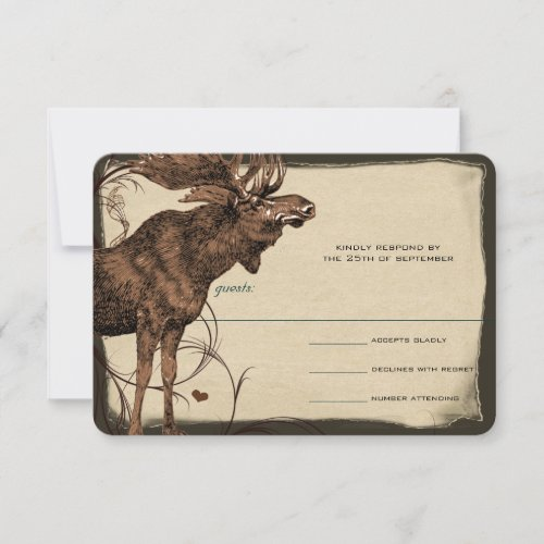 Vintage Moose Forest Lodge Ranch Wedding RSVP