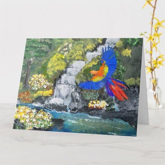 Vintage Multicolor Waterfall Garden Scene Painting Card