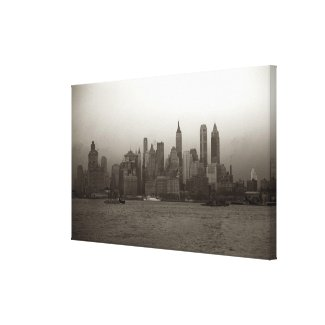 Vintage New York City Skyline Photograph (1941) Canvas Print