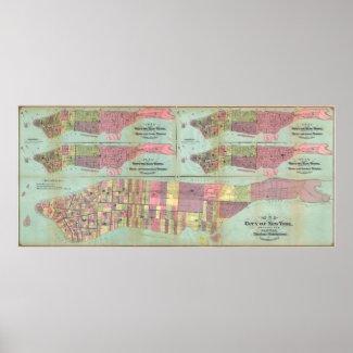 Vintage NYC Political Ward Map (1870) Print