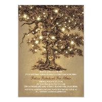 vintage old oak tree rustic wedding anniversary card
