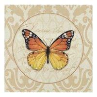 Vintage Orange Butterfly Wood Wall Art