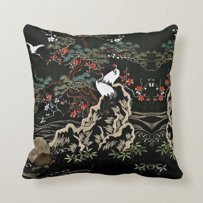 Vintage oriental Throw Pillows  Zazzle