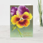 ❤️ Vintage Pansy Floral Birthday Greeting Card
