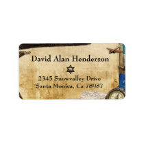 Vintage Paper World Travel Address Label