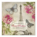 Vintage Paris Peonies Sweet Sixteen Birthday Party Invitation