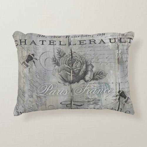 Vintage Parisian Inspired Bee and Rose Print Accent Pillow