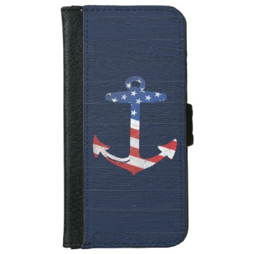 Vintage Patriotic American Flag Anchor Nautical US Wallet Phone Case For iPhone 6/6s