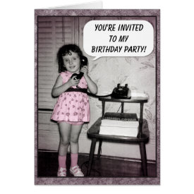 Vintage Photo Custom Birthday Party Invitations Card