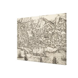 Vintage Pictorial Map of New York City (1672) Gallery Wrapped Canvas