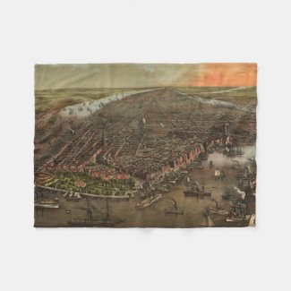 Vintage Pictorial Map of New York City (1873) Fleece Blanket