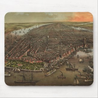 Vintage Pictorial Map of New York City (1873) Mouse Pad