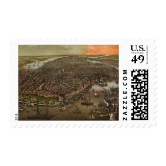 Vintage Pictorial Map of New York City (1873) Postage Stamp