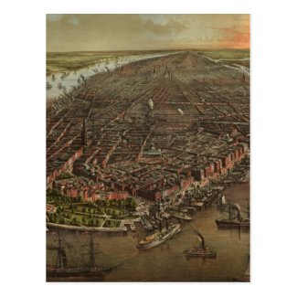 Vintage Pictorial Map of New York City (1873) Post Cards