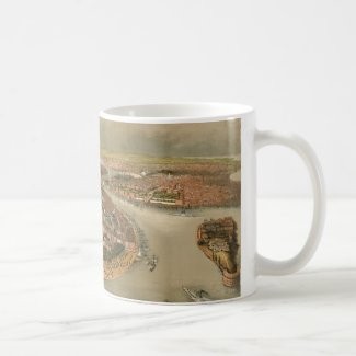 Vintage Pictorial Map of New York City (1874) Mug