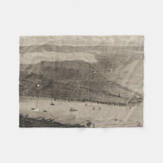Vintage Pictorial Map of New York City (1876) Fleece Blanket