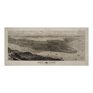 Vintage Pictorial Map of New York City (1876) Poster
