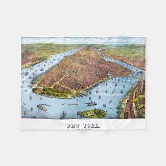 Vintage Pictorial Map of New York City (1879) Fleece Blanket