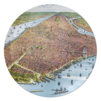 Vintage Pictorial Map of New York City (1879) Party Plate