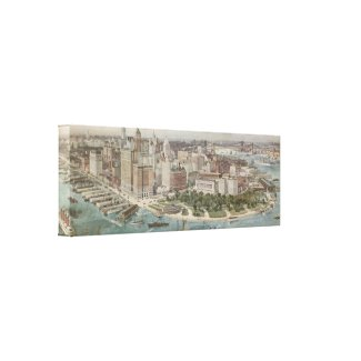 Vintage Pictorial Map of New York City (1914) Canvas Print