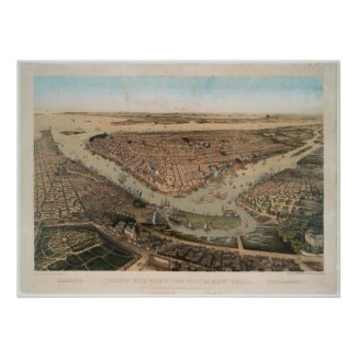 Vintage Pictorial Map of NYC and Brooklyn (1859) Poster