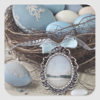 Vintage Pier Easter Nest Square Sticker