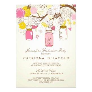 Vintage Pink Mason Jars Graduation Invitation