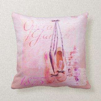Vintage Pink Watercolor Ballerina Dancer Ballet Throw Pillows