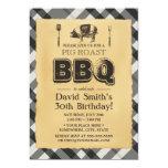 Vintage Plaid Pig Roast BBQ Birthday Party Invitation