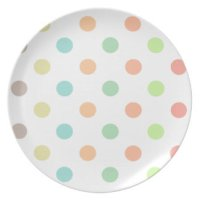 Blue And Green Polka Dots Plates | Zazzle
