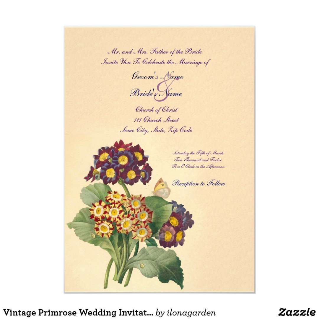 Vintage Primrose Wedding Invitation