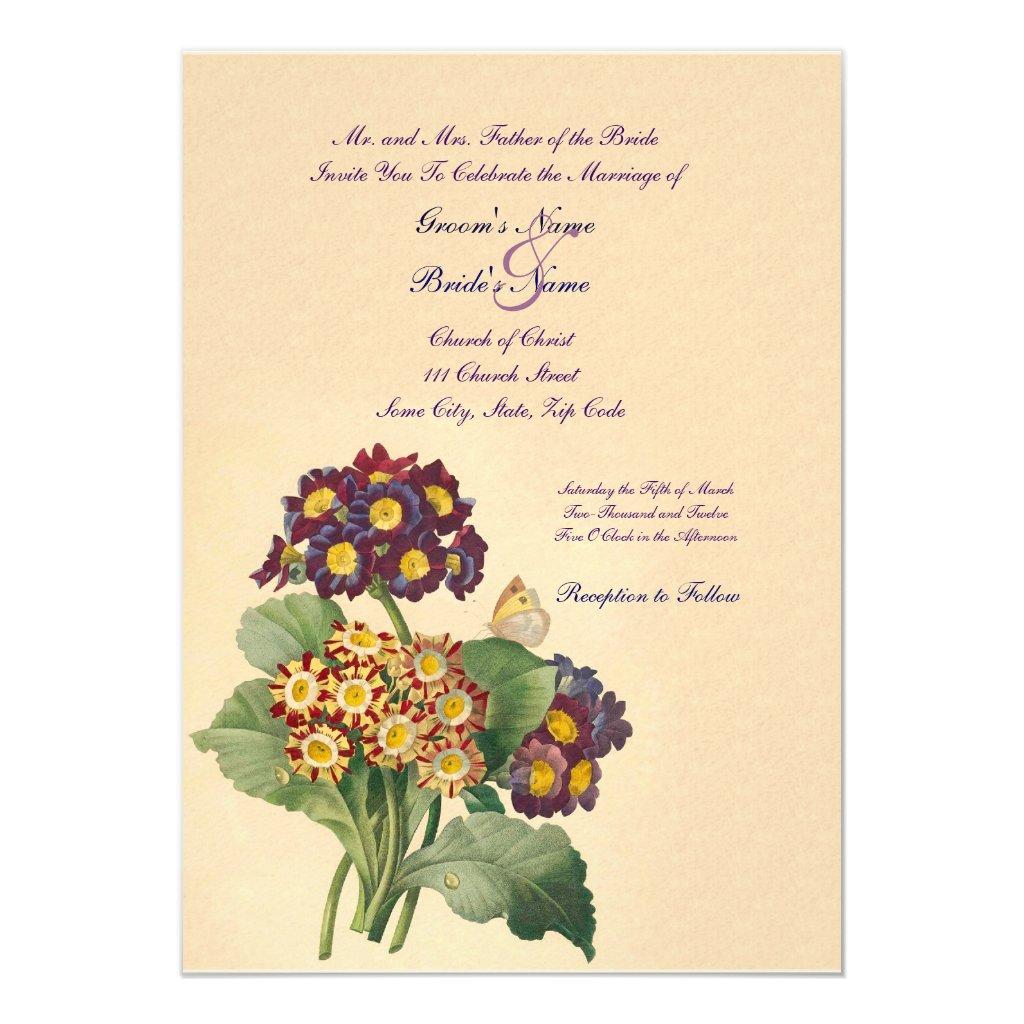 Vintage Primrose Wedding Invitation