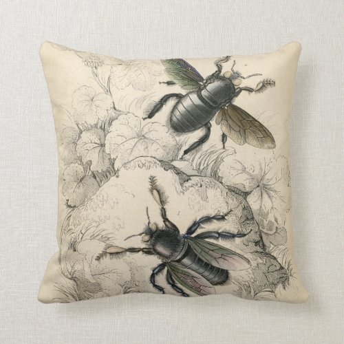 Vintage Print Bees and Florals Throw Pillow