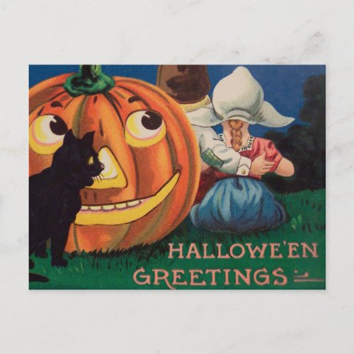 Vintage pumpkin black cat kids Halloween postcard