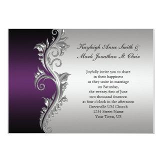 Vine Purple Black And Silver Wedding Invitation