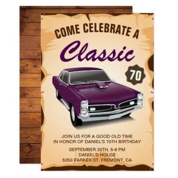 Vintage Purple Car Classic Birthday Invitation