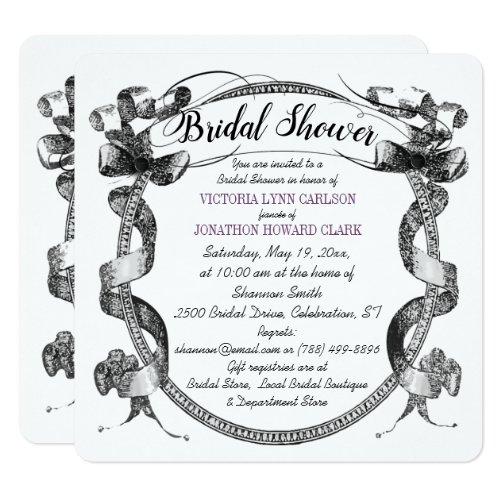 Vintage Purple Flourish Script Bridal Shower Invitation