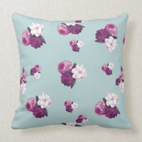 Vintage Purple Flowers on Light Blue Throw Pillow
