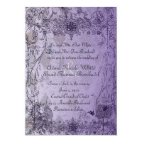 Vintage Purple Unicorn Wedding Invitation