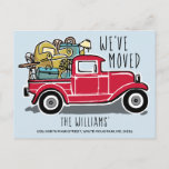 Vintage Red Truck New Home Moving Announcement Postcard