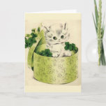 Vintage Retro Kitten Saint Patrick's Day Card