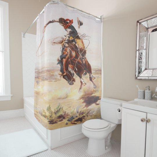 Vintage Rodeo Cowboy Bronc Rider Shower Curtain  Zazzlecom
